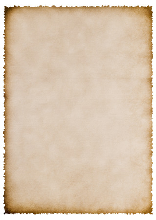 old burnt paper sheet isolated on white for your text Archivio Fotografico