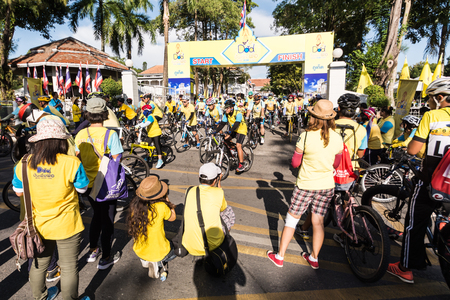 homage: PHUKET THAILAND-DEC 11: Event in Thailand Bike for dad. Many people participate in bike a bicycle for dad.Event pay homage to the King of Thailand on December 11, 2015 in Phuket, Thailand