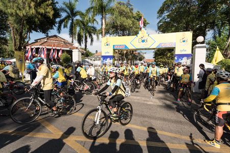 of homage: PHUKET THAILAND-DEC 11: Event in Thailand Bike for dad. Many people participate in bike a bicycle for dad.Event pay homage to the King of Thailand on December 11, 2015 in Phuket, Thailand