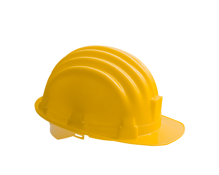hull: Yellow safety helmet construction is isolated on white background Stock Photo