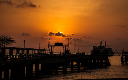 Port of ferry in Koh samui in evening, Thailand