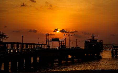 koh samui: Port of ferry in Koh samui in evening, Thailand Stock Photo