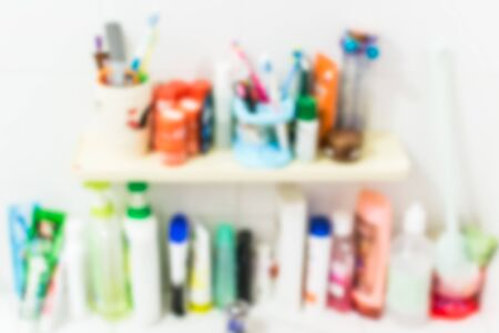 sanitation: Blurred sanitation product in the bathroom for background