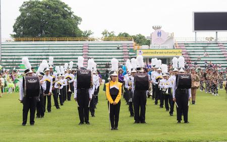 yearly: PHUKET, THAILAND - JUL 13 : Parade of schoolchild in the stadium on July 13, 2016. Opening ceremony of yearly athletics competition of Anuban Phuket School in phuket, Thailand