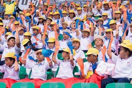 yearly: PHUKET, THAILAND - JUL 13 : Cheering team schoolchild in the stadium on July 13, 2016.  Yearly athletics competition of Anuban Phuket School in phuket, Thailand