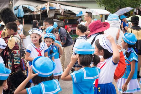 yearly: PHUKET, THAILAND - AUG 26 : Parade of fancy schoolchild on August 26, 2016. Opening ceremony of yearly provincial sport competition in phuket, Thailand