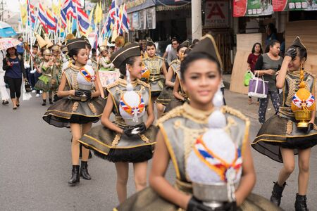 PHUKET, THAILAND - AUG 26 : Parade of fancy schoolchild on August 26, 2016. Opening ceremony of yearly provincial sport competition in phuket, Thailand