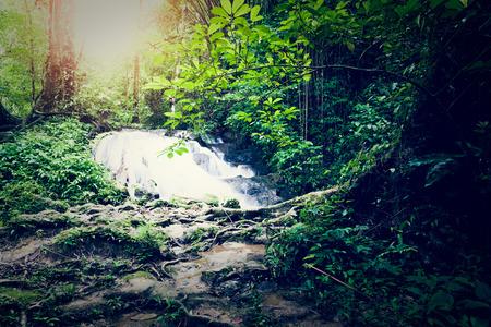 manora: Sa Nang Manora waterfall in tropical rain forest under sunlight, Phang Nga, Thailand
