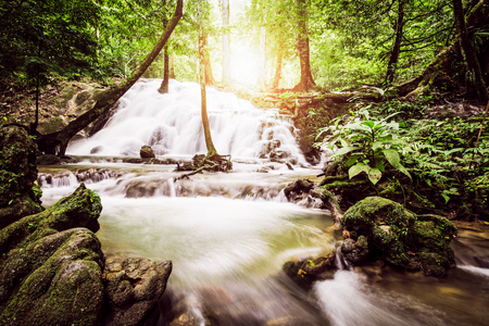 manora: Sa Nang Manora cascade waterfall in tropical rain forest under sunlight, Phang Nga, Thailand