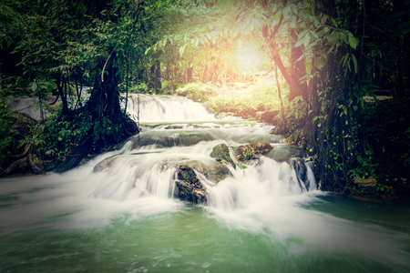 manora: Sa Nang Manora waterfall in tropical rain forest under sunlight, Phang Nga, Thailand