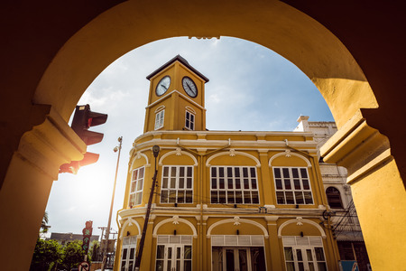 restored: Restored chino-Portuguese clock tower in phuket old town, Thailand