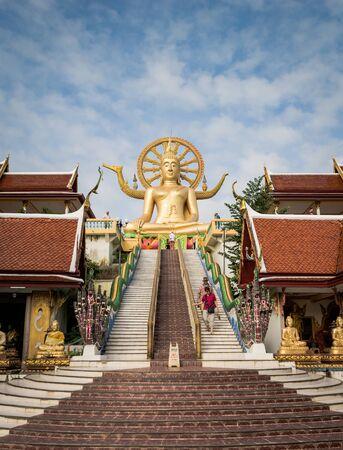 koh samui: KOH SAMUI, THAILAND - DEC 24 : Big Buddha at Wat Phra Yai temple is 12-metre seated Buddha statue was built in 1972 in Koh Samui on December 24, 2016. Suratthani, Thailand.