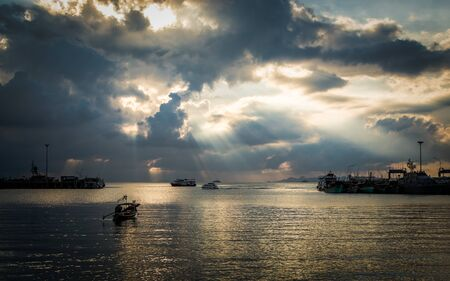koh samui: Scenery at seaport with cloudy sky in Koh Samui, Thailand