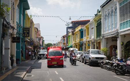 PHUKET, THAILAND - JULY 29, 2017: Chino-portuguese style building in Phuket Old Town. Historical landmark in thalang road at Phuket, Thailand.