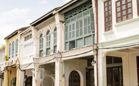 PHUKET, THAILAND - JULY 30, 2017: Chino-portuguese style building in Phuket Old Town. Historical landmark in thalang road at Phuket, Thailand.