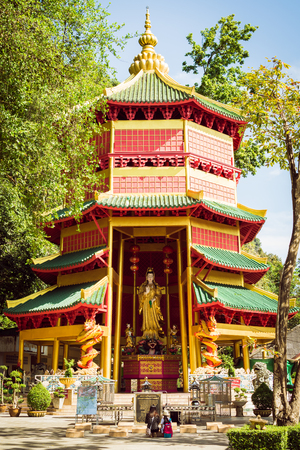 Krabi, Thailand - October 25, 2017 : Chinese style pagoda with a giant statue of Guan Yin or goddess of compassion and mercy at Tiger Cave Temple (Wat Tham Seua). Krabi, Thailand.