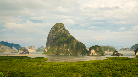Scenery of Phang Nga Bay at Samet Nang She View point, Thailand.