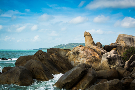 Hin Ta ( Grandfather Rock ) view point with blue sky in koh samui, Thailand. Stock Photo