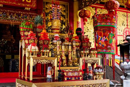 Altar in Chinese shrine ( Jiu Tean Geng Shrine ) for worship gods and goddesses during vegetarian festival in Phuket, Thailand.