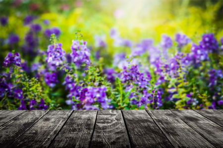 Empty wooden floor with blurred flower in the meadow under sunlight background. For product display.