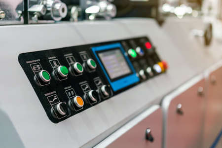 Close up push button and display control panel of modern and high technology of automatic publication or printing machine Banque d'images