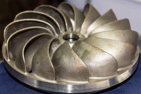 Close up impeller of pump made for sand casting manufacturing process for industrial