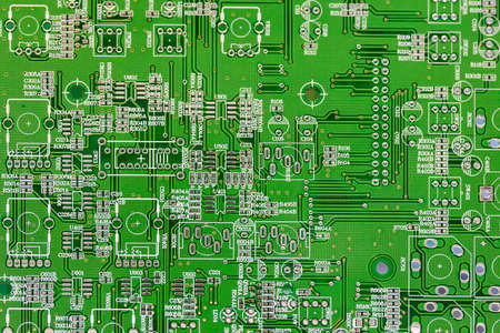 close up green electronic printed circuit board (pcb) for computer or equipment Banco de Imagens