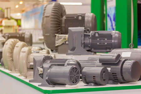 many type of new electric motor and blower on table Reklamní fotografie