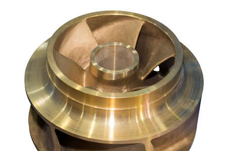 Close up copper closed impeller of centrifugal pump for industrial