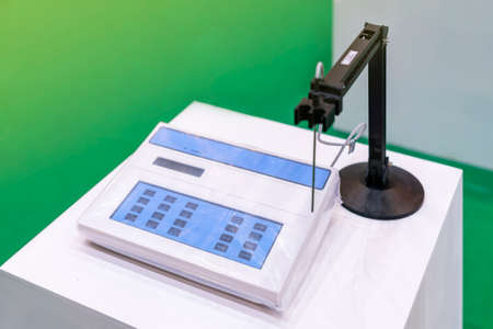Close up panel automatic ph meter device or equipment of lab for process acid – alkali check measurement analysis or research chemical experiment for medical - pharmacology industrial etc. Stock Photo