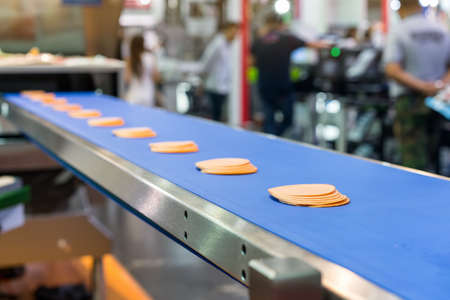 Close up bologna sliced on automatic conveyor machine of industrial food manufacture