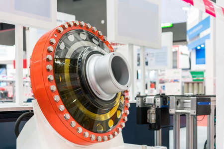 Close up large or big bearing housing for heavy industrial work Stock Photo