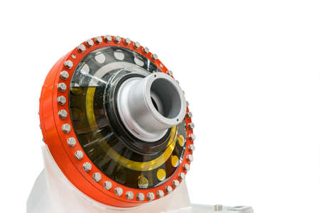 large or big bearing housing for heavy industrial work isolated on white background with clipping path Stock Photo