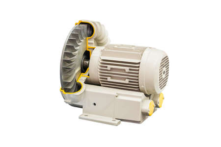 Cross section industrial centrifugal vortex or pressure blower with motor isolated on white background with clipping path Archivio Fotografico