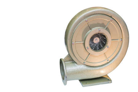 large or heavy industrial centrifugal vortex or pressure blower isolated on white background with clipping path