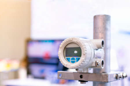 High accuracy and Modern flow transmitter set up on stand for measuring pressure viscosity density compressibility application for industrial gas oil or liquid transfer etc.