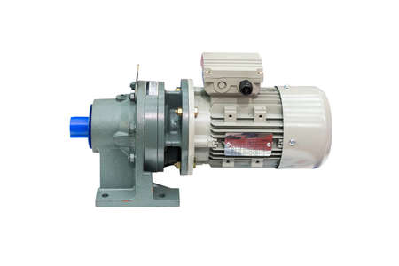 modern of high technology electric motor with reduce gearbox on table isolated on white background with clipping path