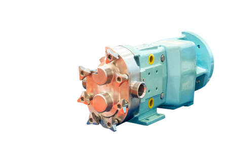 Close up outside of High technology and quality rotary or lobe gear vacuum pump for industrial isolated on white background with clipping path Stockfoto