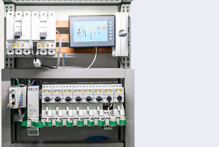 Close up detail electric device and control circuit in box for industrial with copy space Stockfoto