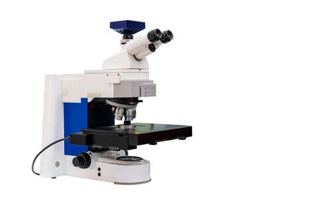 modern & high accuracy microscope during sample or specimen inspection for quality control in industrial metallurgy electronic science etc of laboratory isolated on white