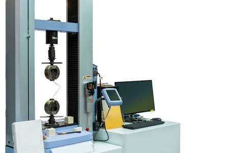 high technology and accuracy of automatic two vises tensile strength testing machine for material property test and analysis with monitor screen for result display isolated on white Stock Photo