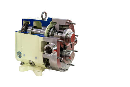 cross section high technology of rotary or lobe gear high pressure vacuum pump with gearbox for control flow rate water solvent chemical liquid or oil isolated on white background with clipping path