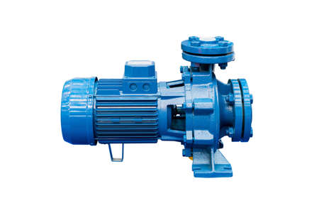 High pressure Centrifugal blue pump include motor isolated on white background with clipping path Stock fotó