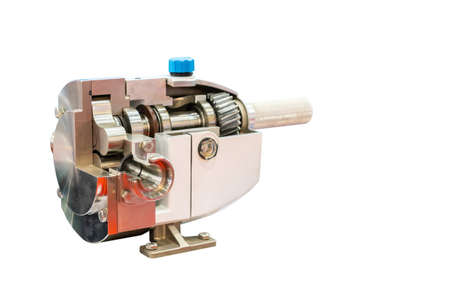 cross section high technology of rotary or lobe gear high pressure vacuum pump with gearbox for control flow rate water solvent chemical liquid or oil isolated on white background with clipping path Stock fotó