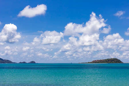 landscape colorful blue sky with beautiful cloud and scintillation sea and island in asia