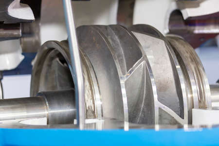 Close up cross section detail impeller and inside centrifugal pump for industrial Stock fotó