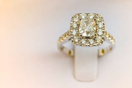 Closeup Beautiful and luxury wedding diamond ring in box with copy space Stock Photo