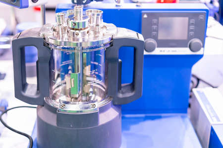 advanced modular vacuum reactor vessel with direct drive stirrer inside device of lab for chemical reaction processes applications in the industrial cosmetics and pharmaceuticals chemical medicine etc Stock Photo