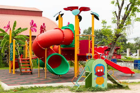 outdoor colorful playground in the school