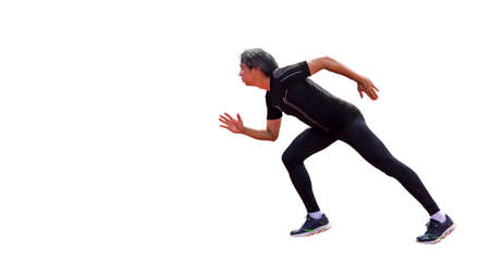 asian man in black sportswear show motion acting of running isolated on white background